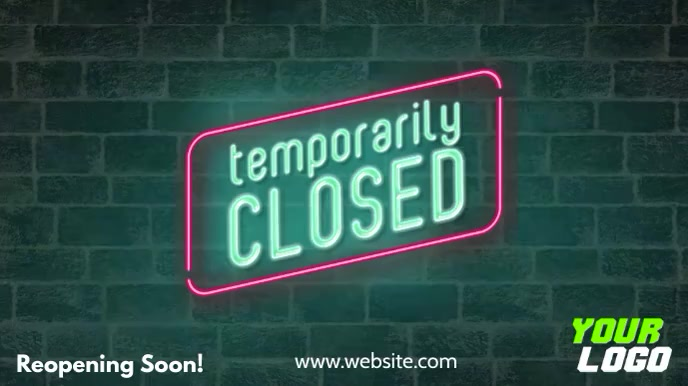 Temporary closed digital display store sign Affichage numérique (16:9) template