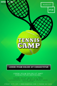 Tennis camp game event flyer template
