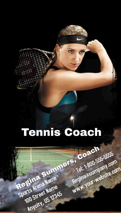 Tennis coach business card template postermywall tennis coach business card customize template reheart Gallery