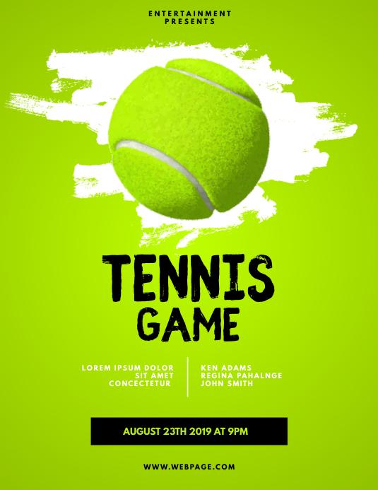 Tennis Game Flyer Template Volante (Carta US)