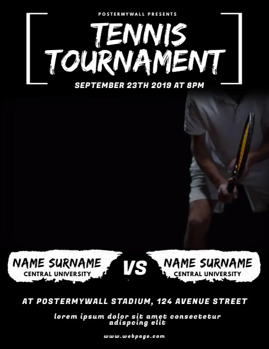 Tennis Game Flyer Video Design Template