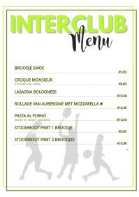Tennis Interclub Menu
