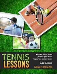 Tennis Lessons Camp Flyer template 传单(美国信函)
