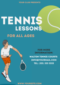Tennis Lessons simple colorful flyer