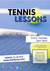 Tennis Lessons Training Workshop Sport Club A4 template