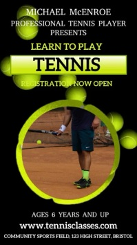Tennis Lessons Video Template Digital Display (9:16)