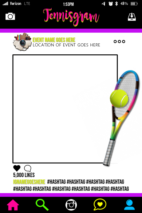 Tennis Party Prop Frame