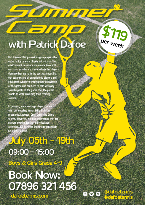 Tennis Summer Camp Flyer