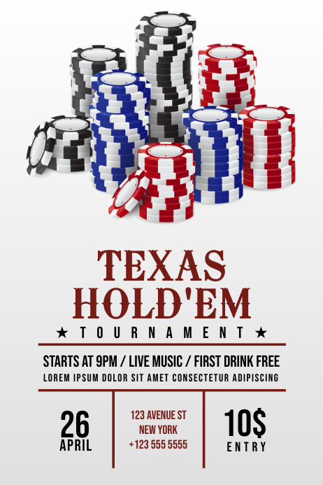 Texas Hold Em Poker Flyer Template Postermywall