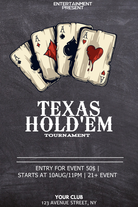 Texas Holdem Poker Night Flyer Template Postermywall