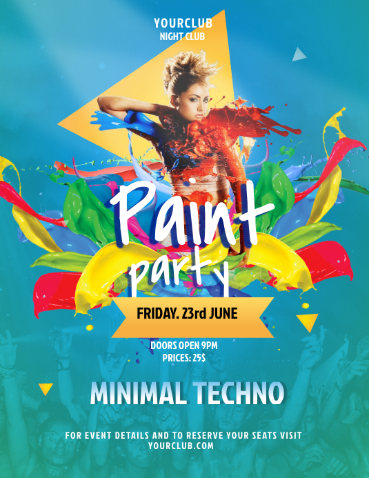 Textured Blue Paint Party Poster