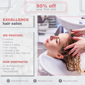 Textured Cream Hair Salon Ad Template