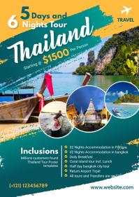 Thailand Travel Flyer Design A4 template