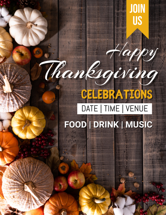 Thank you,thanks giving,event Løbeseddel (US Letter) template