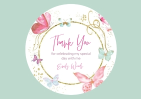 thank you birthday favor tag design template A4