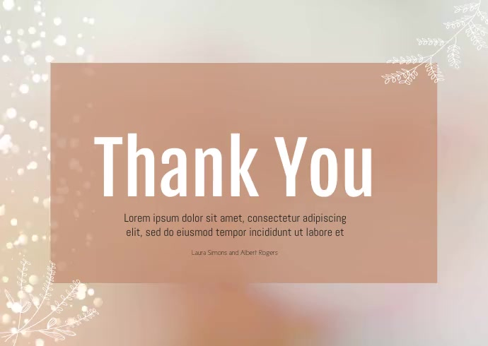 thank you card for wedding video A6 template