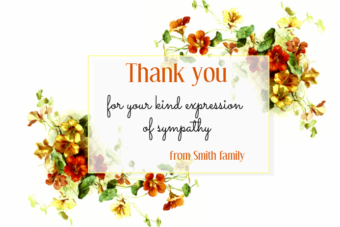 Thank You Card with Flowers Template