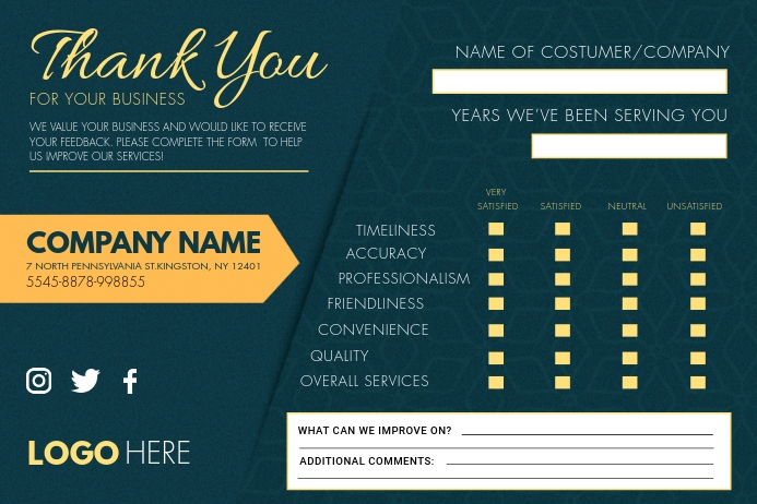 Thank you Comment Card Custom Template Label