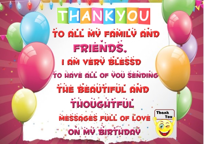 Thank You For Birthday Wish Message Template Postermywall