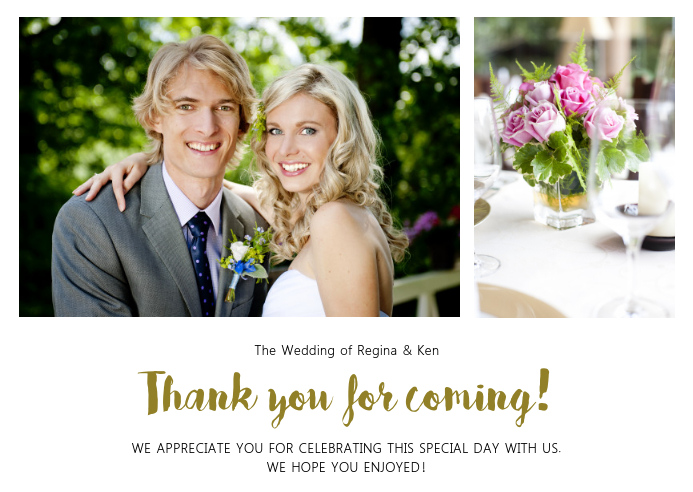 Thank You For Coming Wedding greeting card template