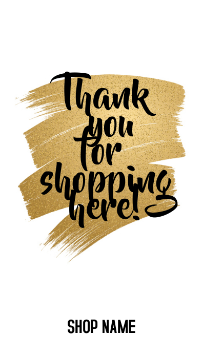 thank you for shopping card