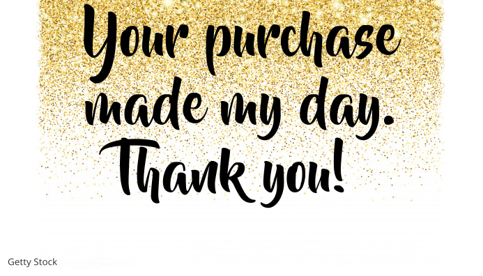 thank you for shopping card gold glitter