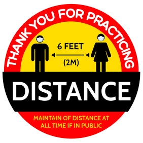 Thank You for Social Distance Poster Template Square (1:1)