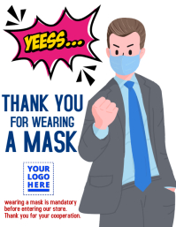 Thank you for wearing a mask design Рекламная листовка (US Letter) template