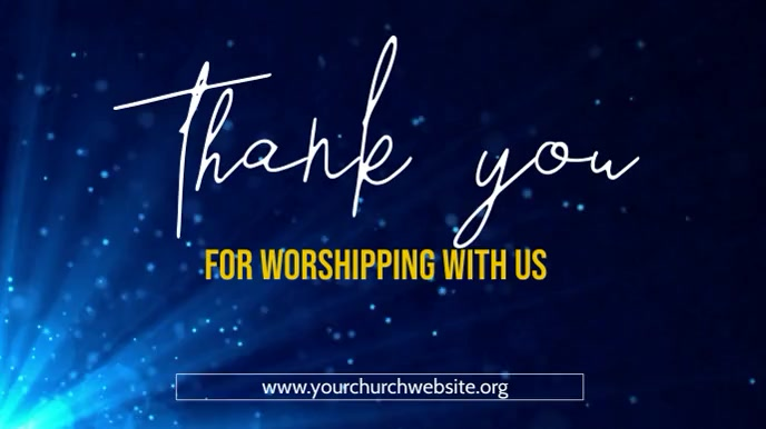 thank you for worshipping with us poster Tampilan Digital (16:9) template
