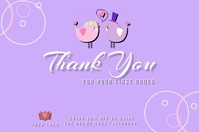 Thank You for your first order card design te Etichetta template