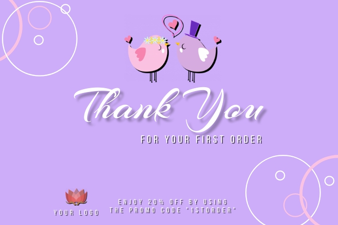 Thank You for your first order card design te Etiket template