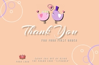 Thank You for your first order card design te Rótulo template