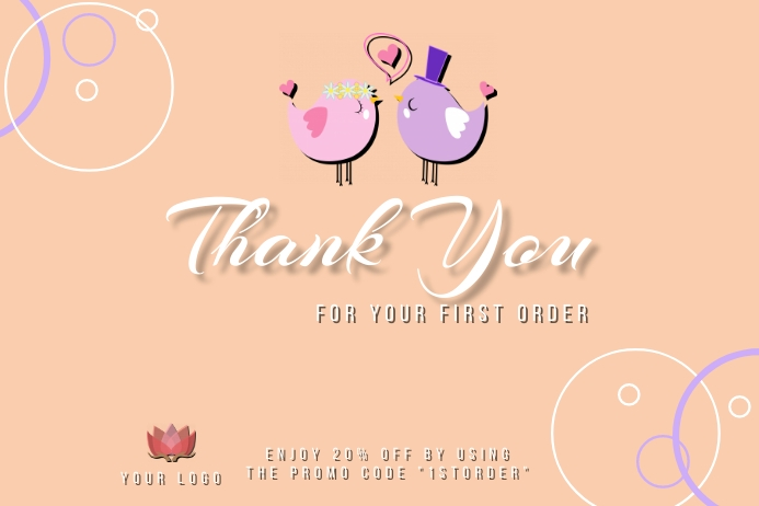 Thank You for your first order card design te Tatak template