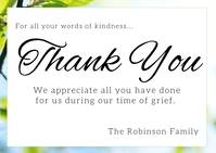 Thank you funeral grief card Postal template