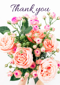 Thank You Greeting Card Din Flowers Wishes