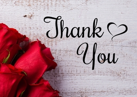Thank You Greeting Card Din Roses Wishes