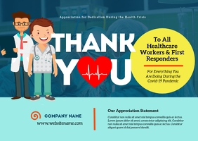 Thank You Healthcare Workers Postcard template