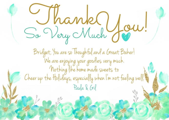 Thank You Note Watercolor Gold, Teal & Blue P