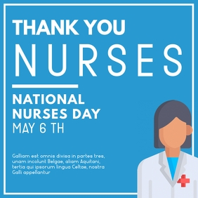 thank you nurses instagram post blue and whit template