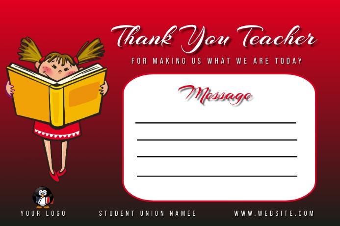 Thank You Teacher card | Teachers Day Card de Label template