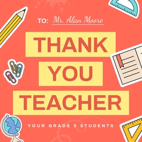 Thank you Teacher Instagram Image template