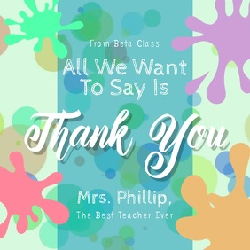 Thank you Teacher Square Video template