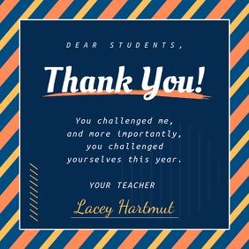 Thank you Teacher to Student Instagram Image Instagram-Beitrag template