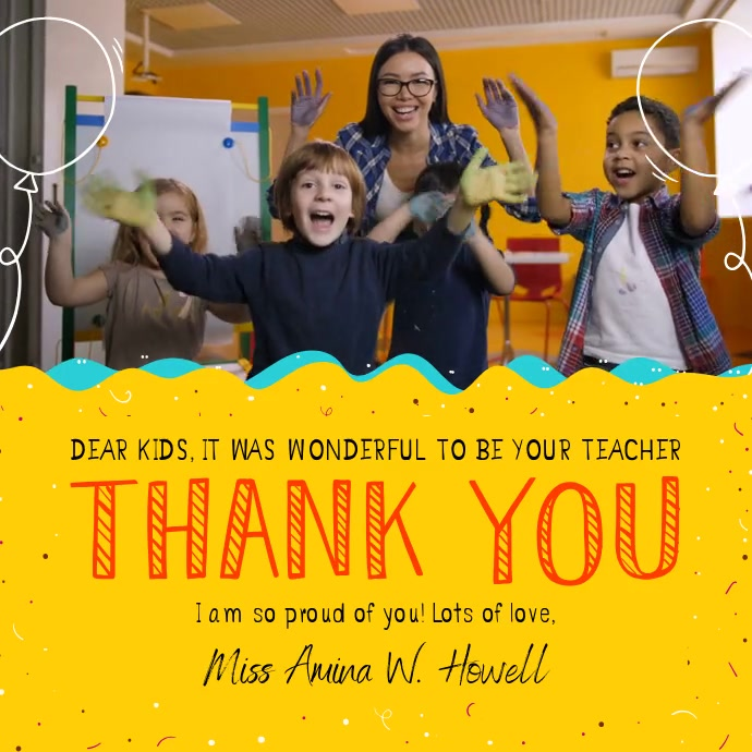 Thank you Teacher to Student Square Video Persegi (1:1) template