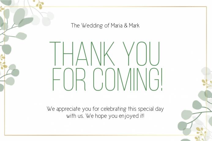 THANK YOU wedding CARD CARDS Template ป้าย