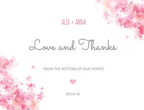 Thank You wedding Greeting Card Template Flyer (format US Letter)