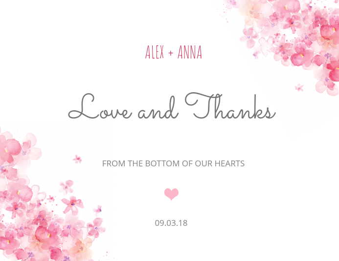 Thank You Wedding Greeting Card Template
