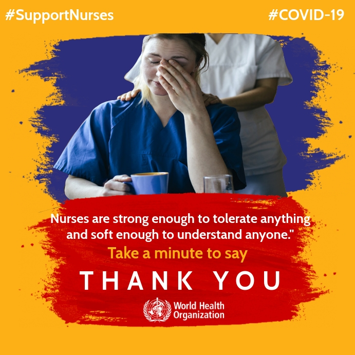 Thank you to Nurses and midwives in Covid-19 Template Persegi (1:1)