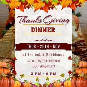 Thanks giving Day Dinner Celebration Poster 1 Instagram-opslag template