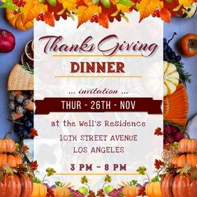 Thanks giving Day Dinner Celebration Poster Instagram-opslag template